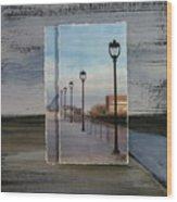 Lamp Post Row Layered Wood Print