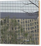 Lamp Post With Building Reflection Wood Print