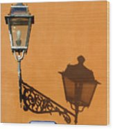 Lamp, Shadow And Burnt Umber Wall, Orvieto, Italy Wood Print