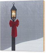 Lamppost In Snow Wood Print
