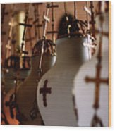 Lamps Inside The Church Of The Holy Sepulchre, Jerusalem Wood Print