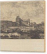 L'ancien Louvre D'apr?s Une Peinture De Zeeman, 1651 (the Old Louvre, From A Painting By Zeeman, L651) Wood Print