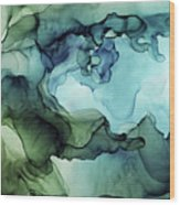 Land And Water Abstract Ink Painting Wood Print