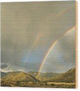 Land Of Enchantment - Rainbow Over Sandia Mountains Wood Print by Matt Tilghman