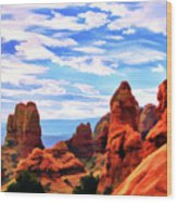 Land Of Moab - Watercolor Wood Print