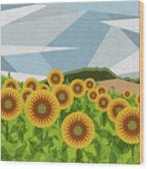 Land Of Sunflowers. Wood Print