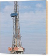 Land Oil Drilling Rig With Equipment On Oilfield Wood Print