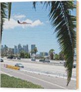 Landing In San Diego Wood Print