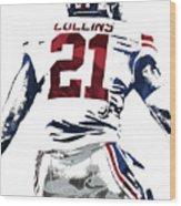 Landon Collins New York Giants Pixel Art 1 Wood Print