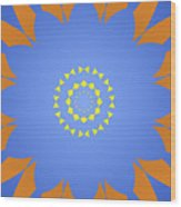 Landscape Abstract Blue, Orange And Yellow Star Wood Print