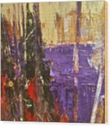 Landscape Abstract In Purple Wood Print