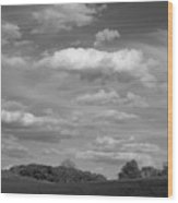 Landscape And Clouds Wood Print