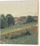 Landscape At Mornex Wood Print