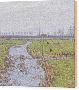 Landscape At Sluis Wood Print