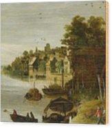 Landscape By A Riverside Town Wood Print