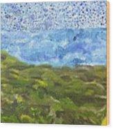 Landscape Dots Wood Print