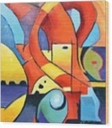 Landscape Figure Abstract Wood Print