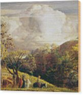Landscape Figures And Cattle Wood Print