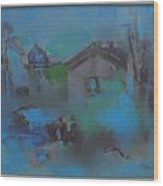 Landscape In Blue Wood Print