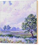 Landscape In Blues Wood Print