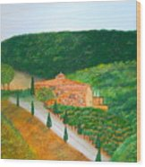 Landscape In Tuscany Wood Print