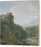 Landscape Of Ancient Greece Wood Print by Pierre Henri de Valenciennes