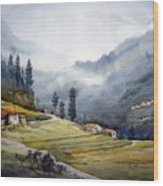 Landscape Of Himalayan Mountain Wood Print