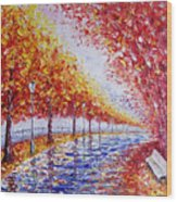 Landscape Painting Gold Alley Wood Print