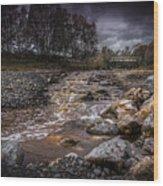 Landscape River And Bridge II Wood Print