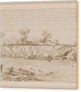 Landscape River With Bathers Wood Print