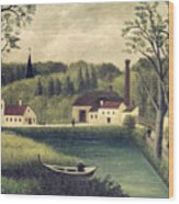 Landscape With A Fisherman Wood Print