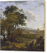 Landscape With A Hunting Party Nicolaes Claes Pietersz Berchem Wood Print