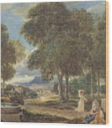 Landscape With A Man Washing His Feet At A Fountain Wood Print
