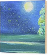 Landscape With A Moon Wood Print