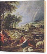 Landscape With A Rainbow Wood Print by Rubens
