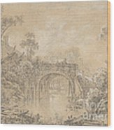 Landscape With A Rustic Bridge Wood Print