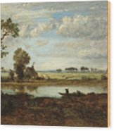 Landscape With Boatman Wood Print
