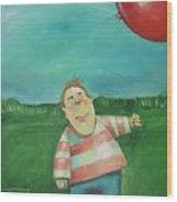 Landscape With Boy And Red Balloon Wood Print