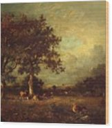 Landscape With Cows 1870 Wood Print
