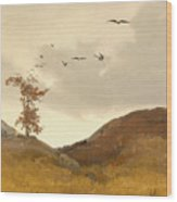 Landscape With Crows  Wood Print