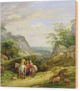 Landscape With Figures And Cattle Wood Print by James Leakey