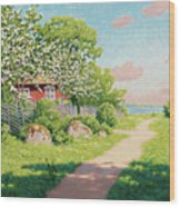 Landscape With Fruit Trees Wood Print