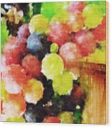 Landscape With Giant Grapes Wood Print