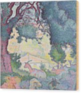 Landscape With Goats Wood Print