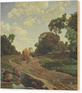 Landscape With Haywagon Wood Print