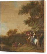 Landscape With Hunting Party Wood Print