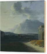 Landscape With Mount Stromboli Wood Print