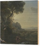 Landscape With Narcissus And Echo Wood Print