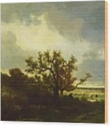 Landscape With Oaktree Wood Print