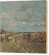 Landscape With Ploughmen Wood Print